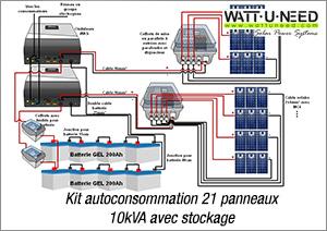 Kit autoconsommation 21 panneaux 10kVA avec stockage