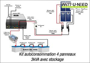 Kit autoconsommation 4 panneaux 3kva avec stockage