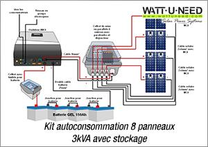 Kit autoconsommation 8 panneaux 3kva avec stockage