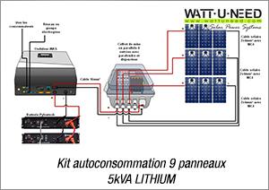 Kit autoconsommation 9 panneaux 5kva Lithium