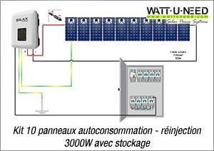 Kit 10 panneaux autoconsommation - réinjection 3000W avec stockage