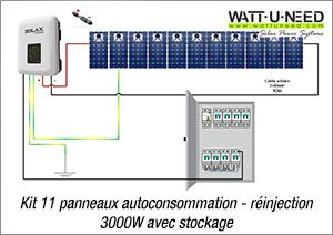 Kit 11 panneaux autoconsommation - réinjection 3000W avec stockage