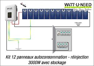 Kit 12 panneaux autoconsommation - réinjection 3000W avec stockage