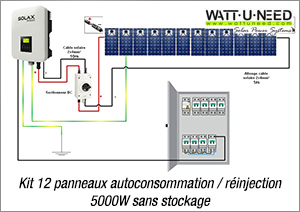 Kit 12 panneaux autoconsommation / réinjection 5000W sans stockage