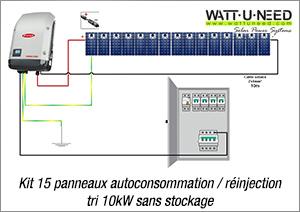 Kit 15 panneaux autoconsommation / réinjection tri 10kW sans stockage