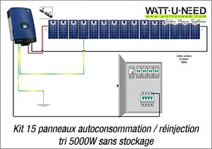 Kit 15 panneaux autoconsommation / réinjection tri 5000W sans stockage