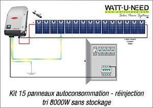 Kit 15 panneaux autoconsommation - réinjection tri 8000W sans stockage