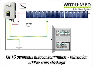 Kit 16 panneaux autoconsommation - réinjection 5000w sans stockage