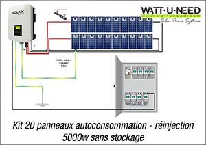 Kit 20 panneaux autoconsommation - réinjection 5000w sans stockage
