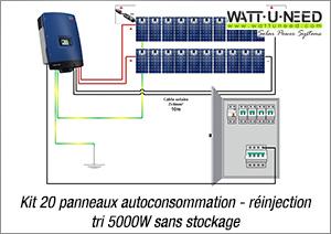 Kit 20 panneaux autoconsommation - réinjection TRI 5000W sans stockage