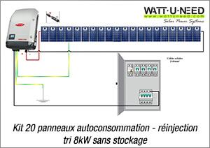 Kit 20 panneaux autoconsommation / réinjection tri 8kW sans stockage