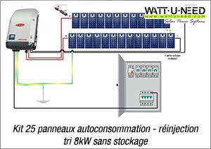 Kit 25 panneaux autoconsommation - réinjection tri 8kW sans stockage