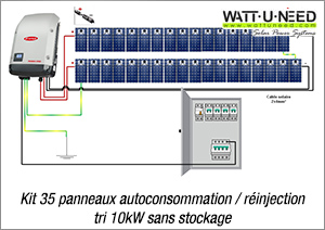 Kit 35 panneaux autoconsommation / réinjection tri 10kW sans stockage