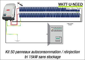 Kit 50 panneaux autoconsommation / réinjection tri 15kW sans stockage