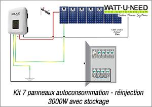 Kit 7 panneaux autoconsommation - réinjection 3000W avec stockage
