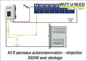 Kit 8 panneaux autoconsommation - réinjection 3000W avec stockage