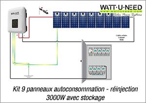 Kit 9 panneaux autoconsommation - réinjection 3000W avec stockage