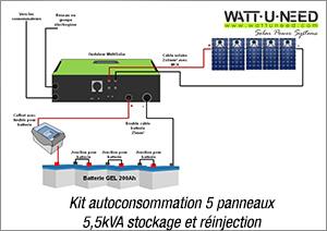 Kit autoconsommation 5 panneaux 5,5kVA stockage et réinjection