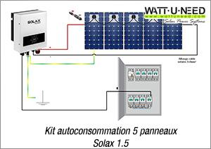 Kit autoconsommation 5 panneaux Solax 1.5
