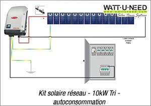 Kit solaire réseau - 10kW Tri - autoconsommation