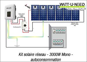 Kit solaire réseau 3000W mono autoconsommation 6 panneaux Kit solaire réseau 3000W mono autoconsommation 6 à 12 panneaux