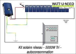 Kit solaire réseau - 5000W Tri- autoconsommation