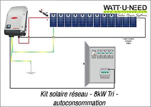 Kit solaire réseau 8kW tri autoconsommation