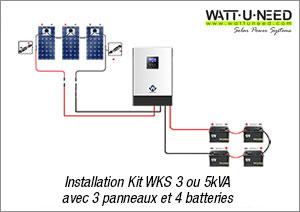 Installation Kit WKS avec 3 panneaux et 4 batteries