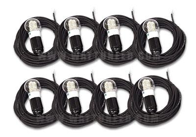 8x Câble avec soquet et ampoule LED 12V 4w
