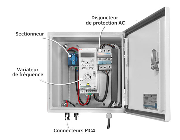 Coffret de protection pour pompage solaire