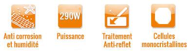 Icones panneaux 275Wc, anti-reflets, monocristallin