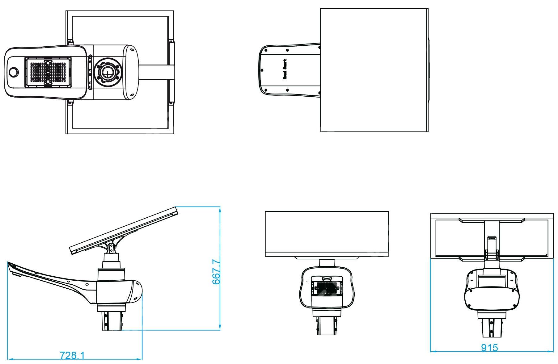 Dimensions: Solar lamp post - LED autonomous 30w WN - 100 Wc Panel