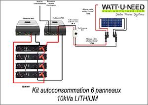 Kit autoconsommation 6 panneaux 5kva Lithium - 2 wks